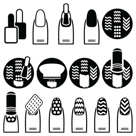nail file: Female gel & hybrid manicure with stamping decorative element with use of stamp metal pattern plate, nail polish in black an white icons set