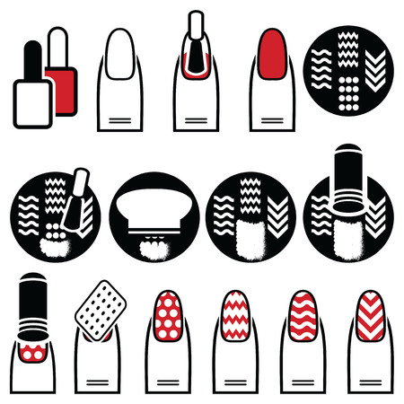 Female gel & hybrid manicure with stamping decorative element with use of stamp metal pattern plate, nail polish in black an white icons set in black red and white