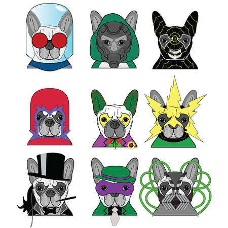 super dog: Villains Anti Heroes  French Bulldogs icons set