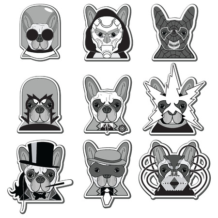 super dog: Villains Anti Heroes  French Bulldogs icons label style in black , white and gray