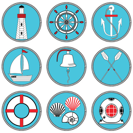 knotted: Nautical elements type 1 icons set in knotted circle including  boat bell, boat, oars, rudder, vintage diving mask, life ring, light house, sea shells and anchor