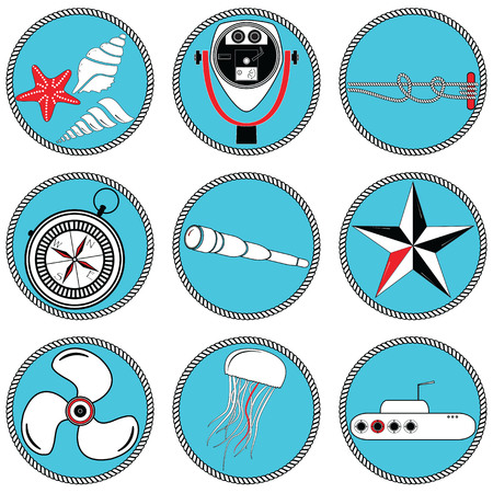 knotted: Nautical elements type 2  icons in knotted circle including   sea shells, Star fish, beach telescope, nautical knots, telescope, star, jelly fish, submarine, vintage compass and boat engine element Illustration