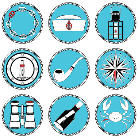 knotted: Nautical elements type 4 icons in knotted circle including sailors hat, chain , pipe, message in the mottle, crab, rose winds, rudder, anchor, light house, boat style windows, lantern, binoculars