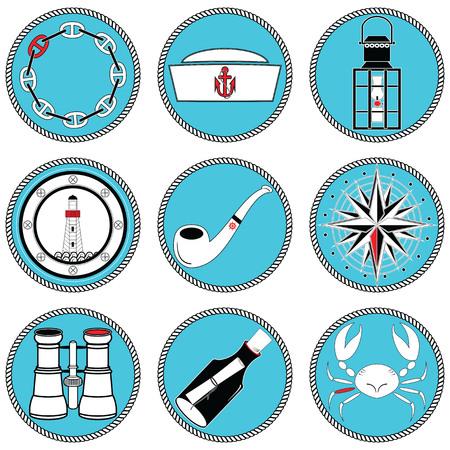 Nautische elementen type 4 pictogrammen in geknoopt cirkel waaronder matrozen hoed, ketting, pijp, bericht in de vlek, krab, nam winden, roer, anker, licht huis, boot stijl ramen, lantaarn, verrekijkers