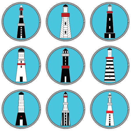 coastal: Lighthouses in vary shapes and styles collection set in nautical colors in knotted circle shape representing coastal  vintage architecture style