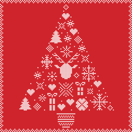 stitching: Scandinavian Norwegian style winter stitching Christmas pattern in tree shape including snowflakes, hearts, Xmas trees, snow, stars, decorative ornaments, reindeer on red  background