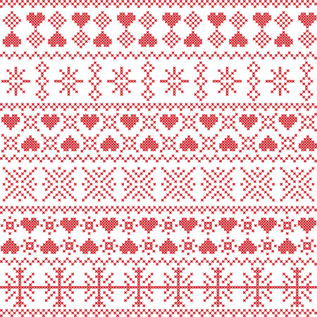 stitching: Scandinavian,  Nordic style winter stitching Christmas seamless pattern  including snowflakes, hearts, snow, stars elements and  decorative ornaments in red on white background  background