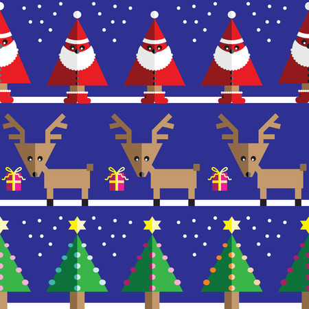 Seamless pattern with geometrical Reindeer, gifts, Santa Claus, snow, Christmas trees with  light blue, orange, pink lights and star element in two shades on dark blue background