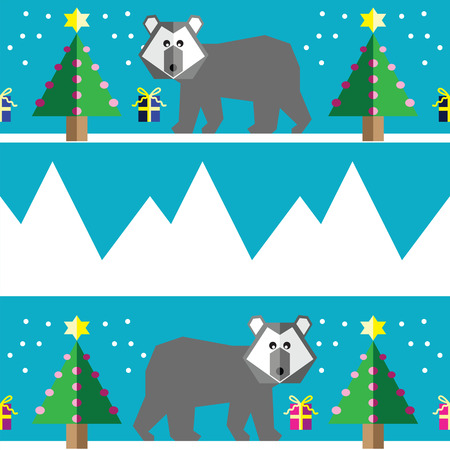 polar light: Seamless pattern with two shades polar bears, snow, geometrical Christmas trees with lights and baubles Christmas gifts in two shades, and mountains on light blue background