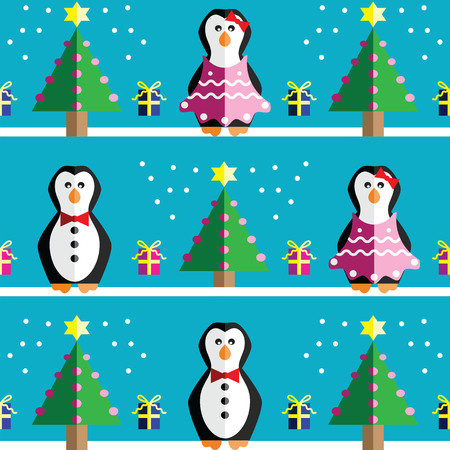 Seamless pattern with geometrical Mr and Mrs Penguin, gifts with ribbon, snow, Christmas trees with  pink lights and star element in two shades on light blue background