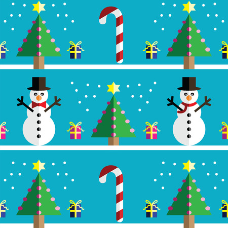 two dimensional shape: Christmas Seamless pattern with geometrical Snowman with scarf and with bow tie , gifts with ribbon, snow, sweets,  xmas trees with  pink lights and star element in 2 shades on light blue background Illustration
