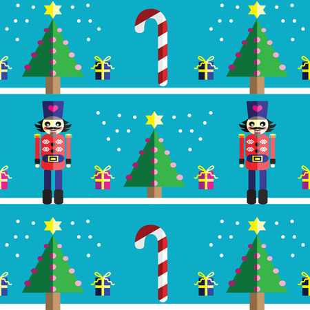 two dimensional shape: Christmas Seamless pattern with geometrical nutcracker soldier  with  gifts with ribbon, snow, sweets,  xmas trees with  pink lights and star element in 2 shades on light blue background Illustration