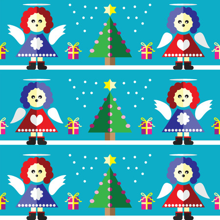 two dimensional shape: Christmas Seamless pattern with angel with  gifts with ribbon, snow,  Xmas trees with  pink lights and star element in 2 shades on light blue background