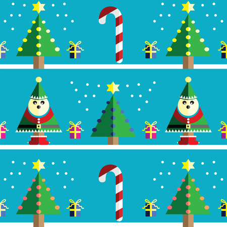two dimensional shape: Christmas Seamless pattern with elf  with  gifts with ribbon, snow,  Xmas trees with  pink, blue, orange lights and star element in 2 shades on  light blue background