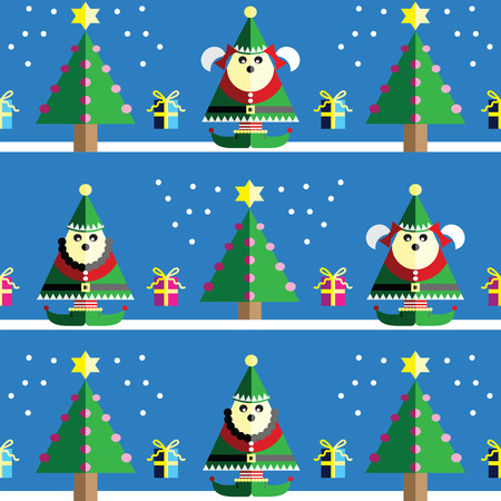 Christmas Seamless pattern with male and female elf  with  gifts with ribbon, snow,  Xmas trees with  pink, blue, orange lights and star element in 2 shades on light blue background Illustration