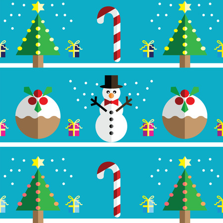 christmas pudding: Christmas Seamless pattern with geometrical Snowman with scarf and christmas pudding
