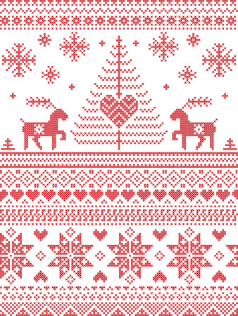 cross stitch: Scandinavian style and Nordic culture inspired Christmas and festive winter seamless pattern in cross stitch style with Xmas trees , snowflakes, starts, reindeer, hearts, decorative ornaments in red Vectores