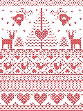 北欧スタイル北欧文化クリスマス ツリー、雪の結晶、鳥、星、トナカイ、心、装飾的な装飾とクリスマスと十字のステッチ スタイルのお祭り冬のシ