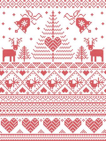 Scandinavian style and Nordic culture inspired Christmas and festive winter seamless pattern in cross stitch style with Xmas trees , snowflakes, birds, stars, reindeer, hearts, decorative ornaments