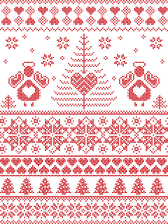 cross stitch: Scandinavian style inspired Christmas and festive winter seamless pattern in cross stitch, knitting style with Xmas trees , snowflakes, angels, stars, hearts, decorative ornaments in red  and white Illustration
