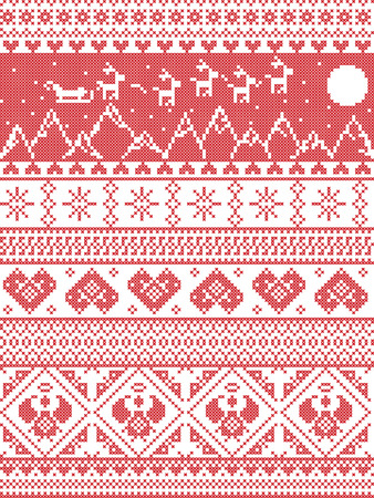 cross stitch: Scandinavian Printed Textile  style and inspired by  Norwegian Christmas and festive winter seamless pattern in cross stitch with Xmas trees, snowflakes, Reindeer, Santa�s Sleigh, hearts,  angels Illustration