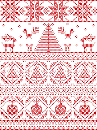 red cross red bird: Scandinavian Printed Textile  style and inspired by  Norwegian Christmas and festive winter seamless pattern in cross stitch with Xmas trees, snowflakes, Reindeer, Robin Bird, heart, Christmas bauble Illustration