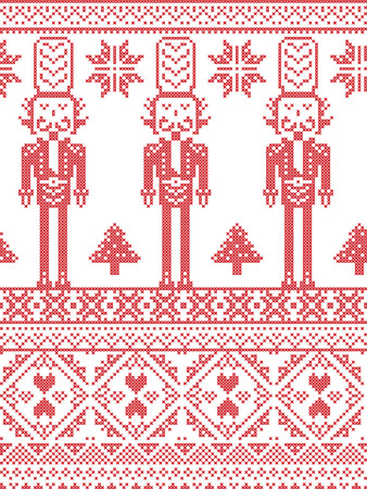 rudolf: Scandinavian Printed Textile  style and inspired by Norwegian Christmas and festive winter seamless pattern in cross stitch with Xmas trees, snowflakes, Nutcracker Soldier hearts decorative ornaments