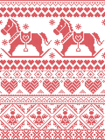 cross stitch: Scandinavian Printed Textile style and inspired by Norwegian Christmas and festive winter seamless pattern in cross stitch with snowflakes, rocking horse, angels hearts and decorative ornaments Vectores