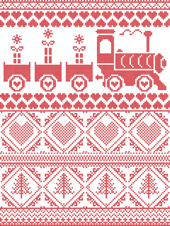 Scandinavian Printed Textile style and inspired by Norwegian Christmas and festive winter seamless pattern in cross stitch with gifts, gravy train, Christmas tree,  heart and decorative ornaments Illustration