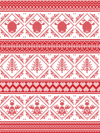 cross stitch: Scandinavian Printed Textile style and inspired by Norwegian Christmas and festive winter seamless pattern in cross stitch with angel, Christmas tree, heart, reindeer  and decorative ornaments