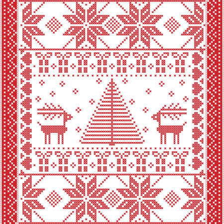 cross stitch: Scandinavian Printed Textile  style and inspired by  Norwegian Christmas and festive winter seamless pattern in cross stitch with Christmas tree, snowflakes, gifts, reindeer,  hearts and ornaments Illustration