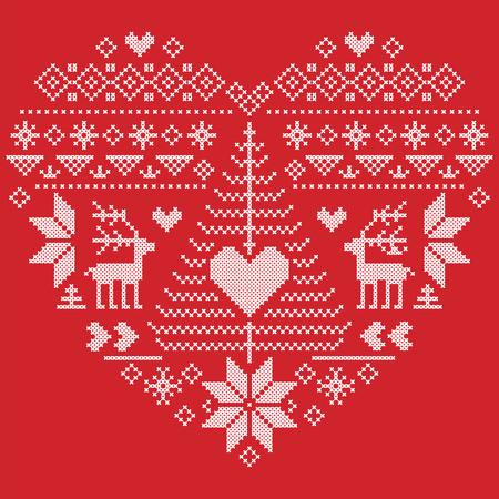 punto de cruz: En forma de corazón estilo escandinavo imprimir textiles e inspirado por el modelo inconsútil de la Navidad y el invierno noruego festiva en punto de cruz con el árbol de Navidad, copos de nieve, renos, el corazón y el ornamento en fondo rojo