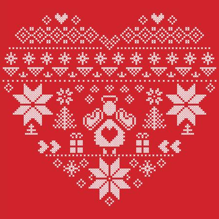 punto de cruz: En forma de corazón estilo escandinavo imprimir textiles e inspirado por el modelo inconsútil de la Navidad y el invierno noruego festiva en punto de cruz con el árbol de Navidad, copos de nieve, ángel, corazones en fondo rojo Vectores