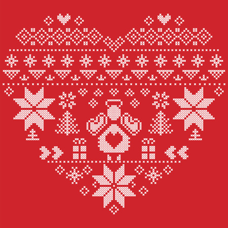 cross stitch: Heart Shape Scandinavian Printed Textile  style and inspired by  Norwegian Christmas and festive winter seamless pattern in cross stitch with Christmas tree, snowflakes, Angel, hearts on red background