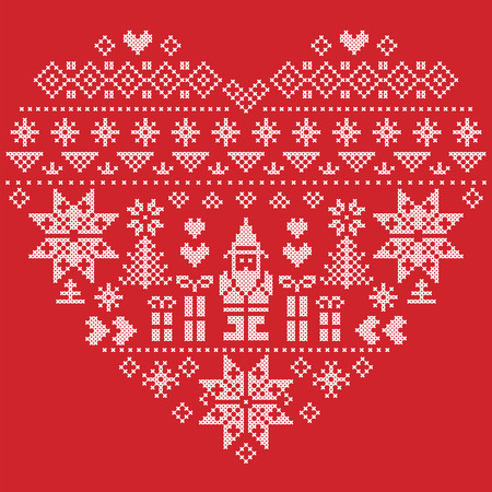 cross stitch: Heart Shape Scandinavian Printed Textile  style and inspired by  Norwegian Christmas and festive winter seamless pattern in cross stitch with Christmas tree, snowflakes, Santa Claus, hearts on red background