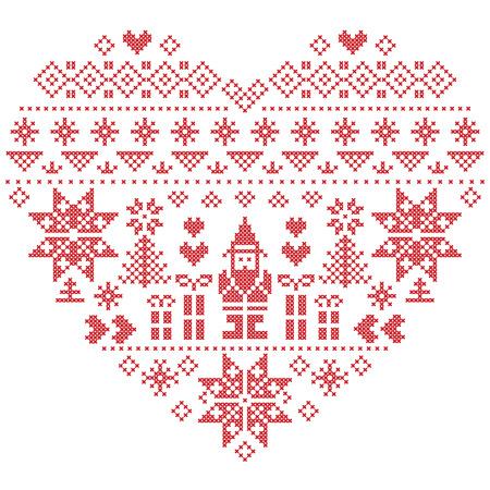 punto de cruz: En forma de corazón estilo escandinavo imprimir textiles e inspirado por el modelo inconsútil de la Navidad y el invierno noruego festiva en punto de cruz con el árbol de Navidad, copos de nieve, Santa Claus, el corazón sobre fondo blanco Vectores