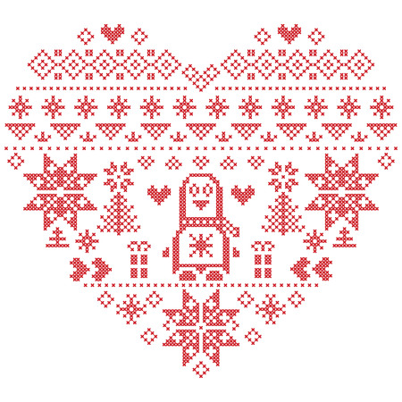 cross stitch: Heart Shape Scandinavian Printed Textile  style and inspired by  Norwegian Christmas and festive winter seamless pattern in cross stitch with Christmas tree, snowflakes, Penguins, hearts on white background Vectores