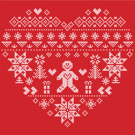 christmas pudding: Heart Shape Scandinavian Printed Textile  style and inspired by  Norwegian Christmas and festive winter  pattern in cross stitch with Christmas tree, snowflakes, gingerbread man , hearts on red background Illustration
