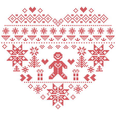 Heart Shape Scandinavian Printed Textile  style and inspired by  Norwegian Christmas and festive winter  pattern in cross stitch with Christmas tree, snowflakes, gingerbread man , hearts on white background Illustration