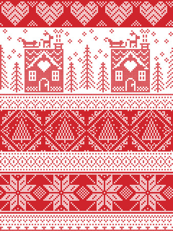 gingerbread house: Scandinavian Printed Textile style and inspired by Norwegian Christmas and festive winter seamless pattern in cross stitch with gingerbread house, Christmas tree, heart, reindeer , sleigh, presents Illustration