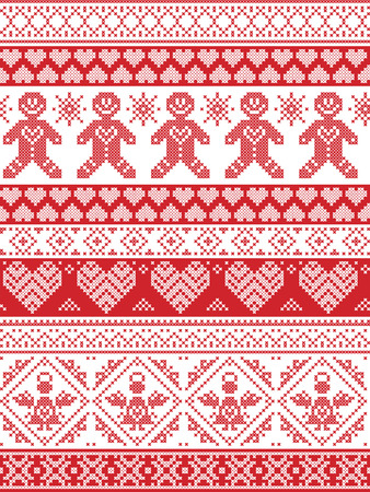 cross stitch: Scandinavian Printed Textile  inspired festive winter seamless pattern in cross stitch with Gingerbread man,  snowflake, decoration elements, angel, hearts and decorative ornaments in red and white