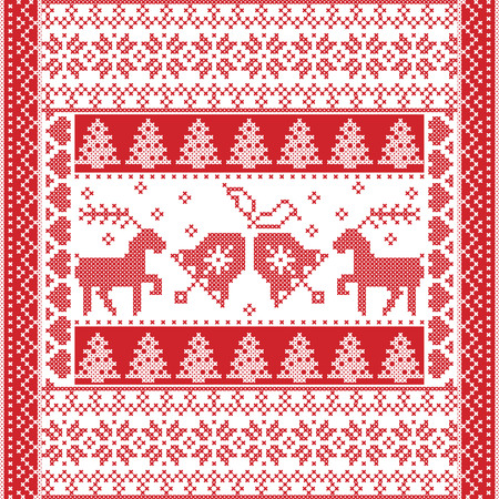 cross stitch: Scandinavian style and Nordic culture inspired Christmas and festive winter square  pattern in cross stitch style with Christmas bell,  tree, reindeer, heart, snowflake, stars, decorative ornaments