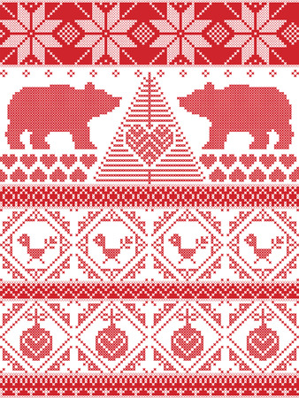 robin bird: Tall Scandinavian Printed Textile style and inspired by Norwegian Christmas and festive winter seamless pattern in cross stitch with polar bear, Christmas tree, heart, robin bird , bauble Illustration