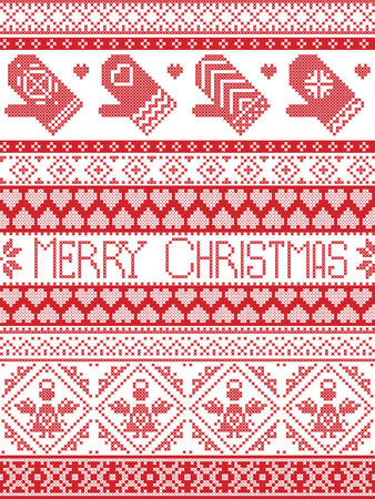 cross stitch: Merry Christmas Tall Scandinavian Printed Textile style and inspired by Norwegian Christmas and festive winter seamless pattern in cross stitch with mittens ,heart, angel, decorative ornaments Illustration