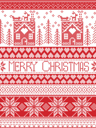 gingerbread house: Merry Christmas Scandinavian Textile style, inspired by Norwegian Christmas, festive winter seamless pattern in cross stitch with gingerbread house, Christmas tree, heart, reindeer, sleigh, presents