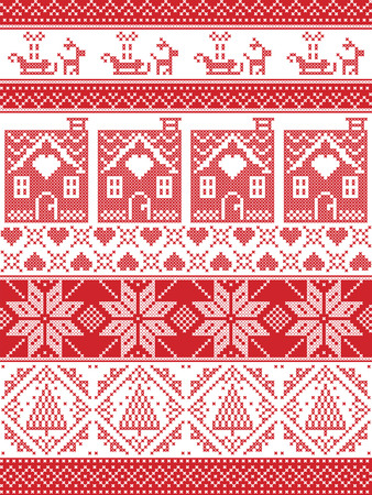 gingerbread house: Seamless Scandinavian Textile style, inspired by Norwegian Christmas, festive winter seamless pattern in cross stitch with gingerbread house, Christmas tree, heart, reindeer, sleigh, present, ornament