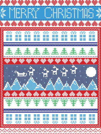 cross stitch: Merry Christmas Scandinavian style, inspired by Norwegian Christmas, festive winter seamless pattern in cross stitch with Xmas trees, snowflakes, Reindeer, Mountains,  Sleigh, moon, sky , gifts, stars
