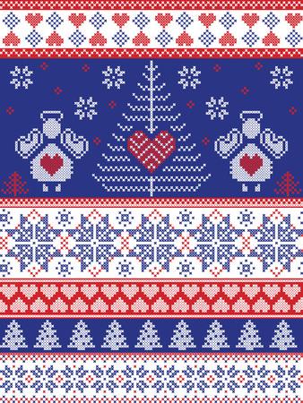 Scandinavische stijl geïnspireerd Kerstmis en feestelijke winter naadloze patroon in kruissteek, breien stijl met Xmas bomen, sneeuwvlokken, engelen, sterren, harten, ornamenten in de kleuren rood, wit, blauw Stock Illustratie