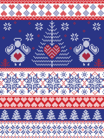 Scandinavian style inspired Christmas and festive winter seamless pattern in cross stitch, knitting style with Xmas trees , snowflakes, angels, stars, hearts, ornaments in red, white, blue