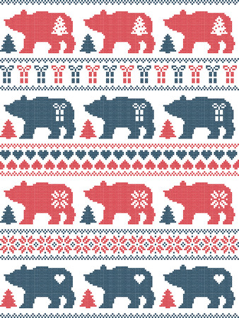 Scandinavian style and Nordic culture inspired Christmas and festive winter seamless pattern in cross stitch style with polar bear,  snowflake, star, heart, tree, gift , ornaments in red, blue, white